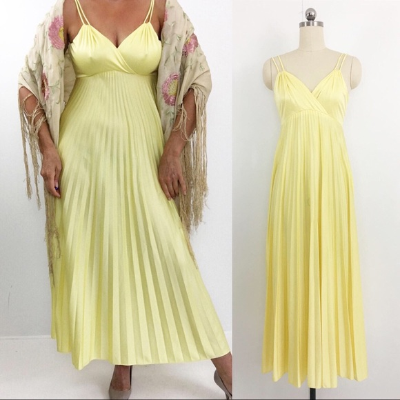 Vintage Dresses & Skirts - Lemon Yellow Pleated Maxi Dress Vintage 70s